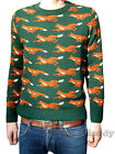 Fox JUMPER green vtg indie retro kitsch hunting xmas NEW foxes country sweater
