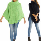 PONCHO WOLLE UMHANG ROLLI GROB STRICK PULLOVER PULLI CARDIGAN GR.36-42 PG24