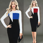 Women colorblocked Formal Corcktail Party Casual  Winter Sheath Work Dress B245