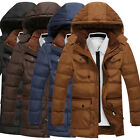 Military Parka Outerwear Mens Winter Jacket Warm Fleece Long Coat Hooded Plus SZ