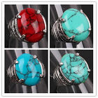 In 3 Size 3 Color Women Mens Tibetan Silver Ellipse Turquoise Ring Jewelry