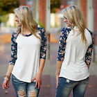 Summer New Fashion Hot Women Long Sleeve T-Shirt Tops Casual Lace Blouse Loose