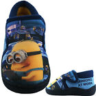 Boys Size 6 - 12 Blue Yellow DESPICABLE ME MINIONS Velcro Slippers NEW