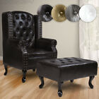 Chesterfield Armchair Ottoman Arm Tub Chair Living Room Furniture Colour Choice