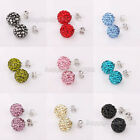 Wholesale! 10mm CZ Crystal Clay Disco Ball Bead Shamballa Silver Stud Earrings