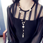 Female Chic Long Sweater Chain White Pearl Flower Tassel Pendant Necklace