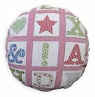 LL411n Red White Pink Light Blue Word Cotton Canvas Round Shape Cushion Cover