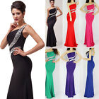 One Shoulder Beaded Evening Dress Long Formal Bridesmaids Wedding Dresses Gown