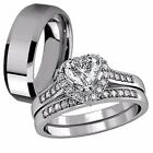 3 PC Her .925 Sterling Silver AAA CZ 1.65 Ct His Tungsten Vogue Wedding Ring Set