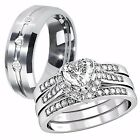 Her .925 Sterling Silver Heart CZ His Tungsten Matching Vogue Wedding Ring Set