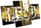 Modern Gold Floral Abstract MULTI CANVAS WALL ART Picture Print VA