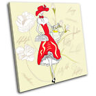 Retro Vintage Fashion Girl Abstract SINGLE CANVAS WALL ART Picture Print VA