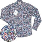 Relco Platinum Collection Satin Finish Paisley Long Sleeve Shirt Navy