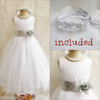 Beautiful white/silver grey flower girl party dress FREE HEADPIECE all sizes