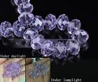 6~14mm Violet Faceted Rondelle Crystal Glass Loose Spacer Beads Free Shipping