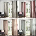Melody Lined Eyelet Curtains Woven Effect Cotton Stripes Ready Made Ring Top