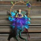 GISELA GRAHAM LARGE PEACOCK FEATHER FAIRY IN RING CHRISTMAS XMAS TREE DECORATION