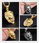 Stainless Steel Fashion Men's Silver/Gold Lion  Pendant Necklace White Stone