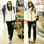 Sporty 2pcs Tongue Logo Zipper Up Drawstring Women Outfits Tracksuit Sweat Suit