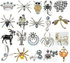 Trendy Wedding Pearl Crystal Rhinestone Spider Crown Owl Animal Brooch Pin Gift