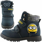 Boys Size 8 - 2 Blue DESPICABLE ME MINIONS Velcro Boots NEW Shoes