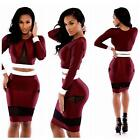 Womens Sexy Two Pieces Long Sleeve Bodycon Lady Party Evening Bandage Dress W