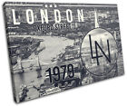 London Typography City SINGLE CANVAS WALL ART Picture Print