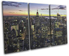New York Skyline City TREBLE CANVAS WALL ART Picture Print