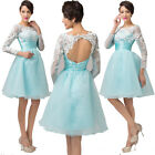 Lace Long Sleeve Short Homecoming Cocktail Party Dress Prom Bridesmaid Ball Gown