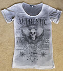 PUNK Authentic Vintage Skull Wing Rhinestone Loose Casual Cotton T-Shirt Top S/M