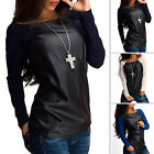 New Sexy Womens Leather Long Sleeve Sweatshirt T-Shirt Casual Loose Blouse Tops