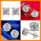 18k Rose White Gold Filled Silver Round Stud Simulated Diamond Ct Solid Earrings