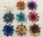 "2pcs Embroidered 3D Layered Floral Sequins Applique Sew Trim Accessories 3""X3"""