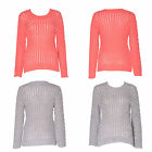 Women Ladies Long Sleeve Cable Knitted Knitwear Jumper Sweater Top  8-14
