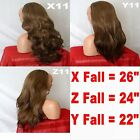 BROWN MIX SOME BLONDE Long Curly Layered  Hair Piece Ladies 3/4 Wig Fall Clip in