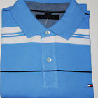 Tommy Hilfiger Mens Polo Shirt Classic Fit Short Sleeve Light Blue White V139