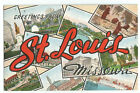Postcard  Greetings from St. Louis MO 9 Picture Montage *819
