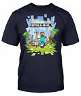 Minecraft Adventure With Logo Steve Men's Navy Blue T Shirt Licensed NEW MHH