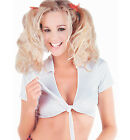 Womens Cropped Tie Front Shirt White Fancy Dress School Girls Britney Spears
