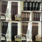 Motel Lined Eyelet Curtains Chenille Stripe Modern Faux Satin Ready Made Pair