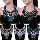 New Fashion Rope Chain Clear Crystal Glass Flower Choker Statement Bib Necklace