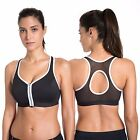Women's High Impact Front Zipper Plunge Wire Free Non Padded Sports Bra