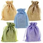Stylish Color Linen Pouches w Drawstring for Gift Packaging, Wholesale Lot of 10