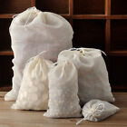 10/50/100pcs Natural Cotton Muslin Reusable Soap Herbs Tea Drawstring Bag 8X10cm