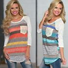 New Spring Womens Stripe Long Sleeve T Shirt Blouse Casual Loose Tops Tee