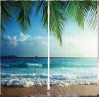 Window Curtains Living Room Tropical Sandy Beach Ocean Palm Trees Water Blue Sky