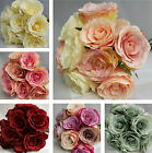 Bunch / Posy of 9 Vintage Style Rose Artificial Flowers. Wedding Bride Long Stem
