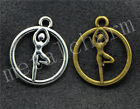 40/200pcs Antique Silver Beautiful Gymnasts Jewelry Charms Pendant 19x16mm