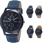 4 Colors Fashion Black Case Dial Quartz Analog Leather Men Sport Wrist Watch