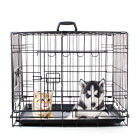 "24 30 36 42 48"" Dog Crate w/ Divide&Tray Fold Metal Pet Cage Kennel Animal House"